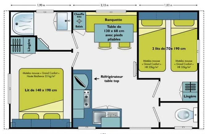 Plan Mobilhomes Venus - Camping Amelia - Amélie les Bains